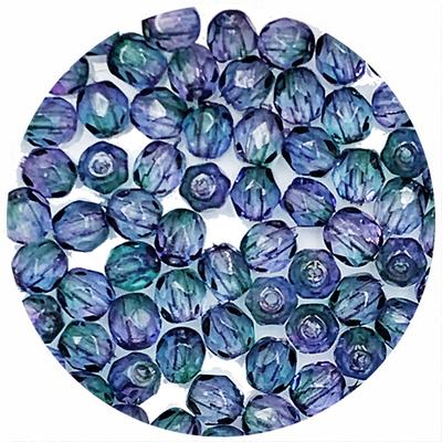Facetkraal - Blauw/paars gevlamd - Glas n156 - 4mm