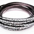 Plat leder - 5x2mm - Paillette zilver