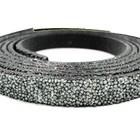 Plat leder caviaar - 6x2mm - Zilver