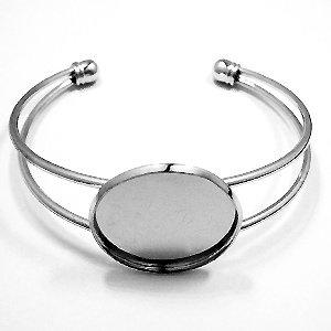 Armband met plateau - Zilverkleur - 62x52mm/voor25mm
