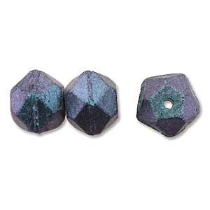Antique cut - Polychrome Denim blue - Glas - 10mm
