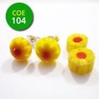 Clear/geel bloempje/rode punt 8-10mm