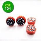 Rood/zwart/rood bloempje - 8-10mm