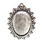 Antiek ovalen lijstje - camee18x25mm - Oud zilver