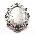 Antiek ovalen lijstje - camee 18x25mm - bailback - Oud zilver