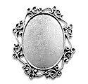 Antiek ovalen zetkastje voor 22x30mm - oud zilver