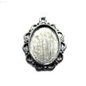 Antiek ovalen zetkastje voor 13x18mm - oud zilver