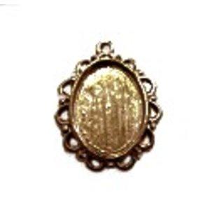 Antiek ovalen zetkastje voor 13x18mm - brons