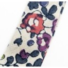 Lint - Beige paarsrode bloem - Biais - 10mm
