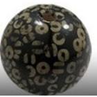 Houten parel rond - 30mm - bois brun confetti