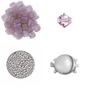 Crea-pakket - Quadrado armband - Pink Topaz Luster/Roze/Zilver
