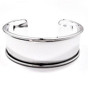 Armband met boord - Zilverkleurig - 24x66mm