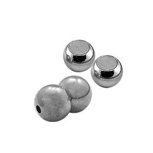 Bol magneet - Zilverkleur - Metaal - 10mm/2mm gat