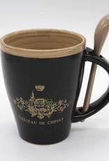 Château de Chimay Mug noir/or + cuillère