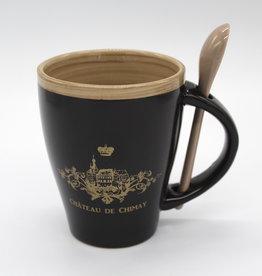 Château de Chimay Mug noir et or + cuillère