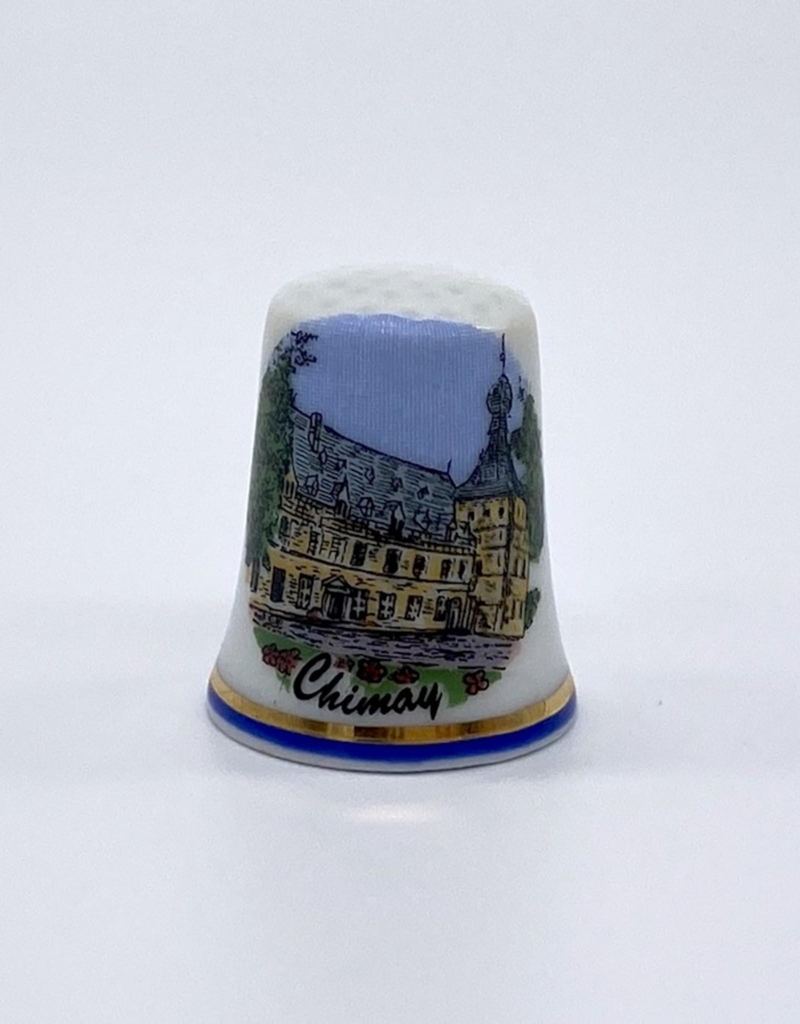 Château de Chimay Dé à coudre bord bleu filet doré