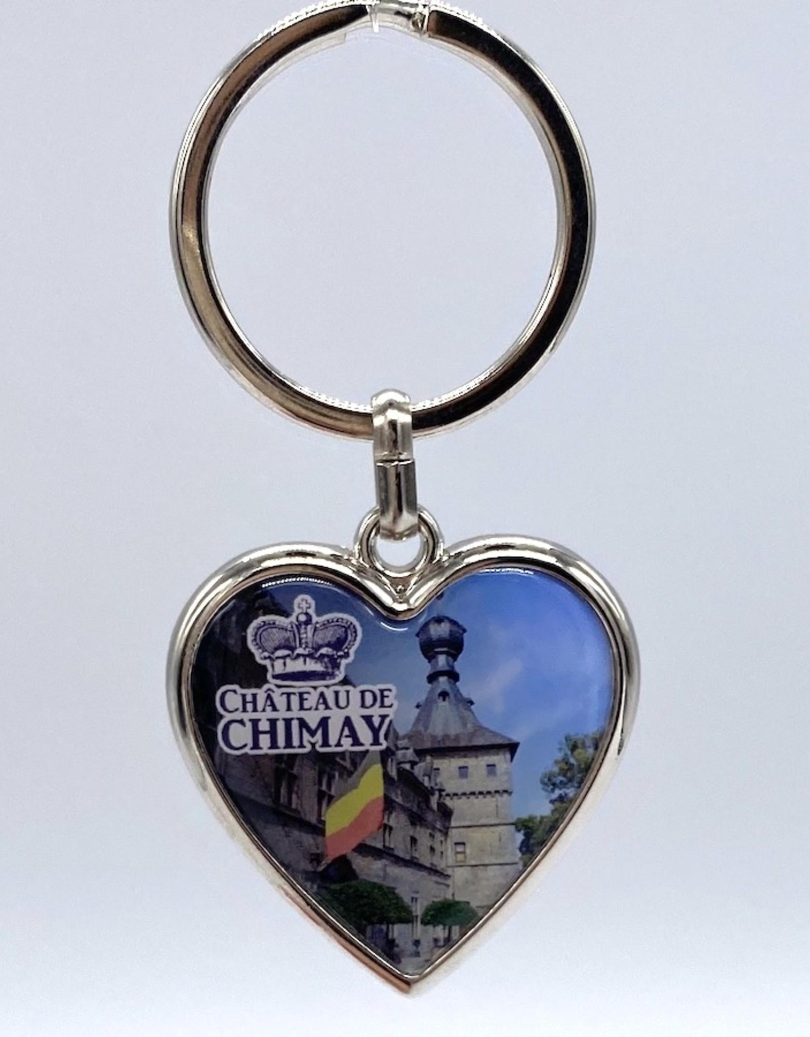 Château de Chimay Porte-clé métal coeur profil + doming