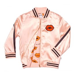 CarlijnQ CarlijnQ Kiss Goodbye pink satin bomberjack