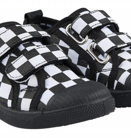 CarlijnQ CarlijnQ Checkers - Zwart/wit klittenband schoenen