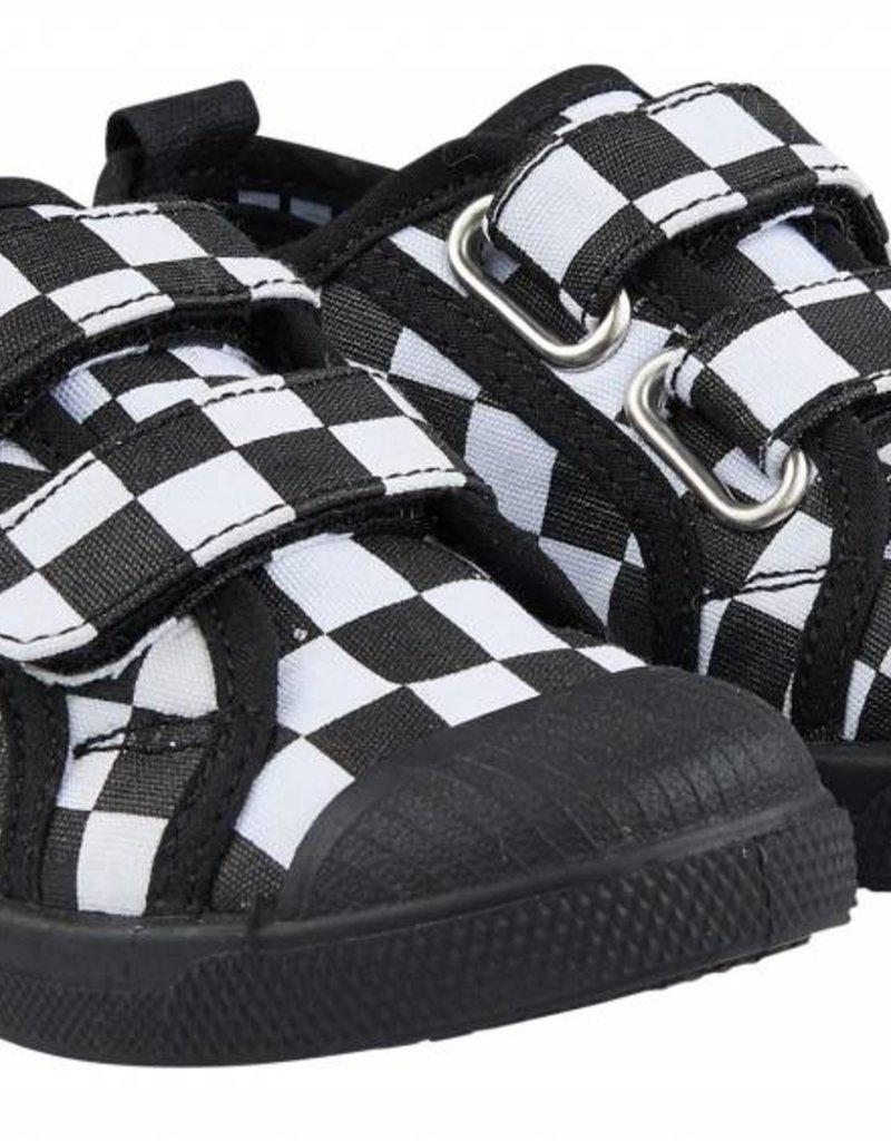 CarlijnQ | Nu -25% KORTING CarlijnQ Checkers - Zwart/wit klittenband schoenen
