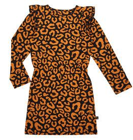 CarlijnQ CarlijnQ - Luipaard ruffled jurk (Laatste! Maat 86/92)