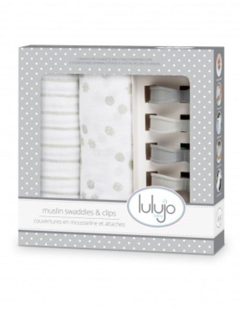 Lulujo Lulujo Gift Set - Swaddles en Clips - Grijs