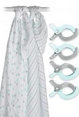 Lulujo Lulujo Gift Set - Swaddles en Clips - Aqua