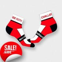 """RenéRosa Challenge Socken """"Low Ankle"""" in Weiß und Rot"""
