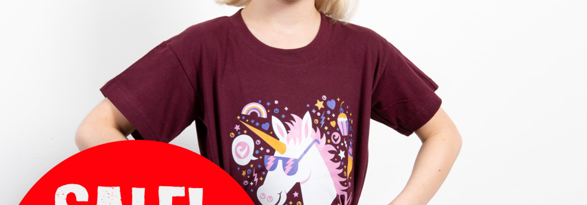 Challenge Kids-Shirt Einhorn - Bordeaux