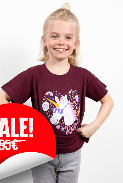 Kids-Shirt Einhorn - Bordeaux