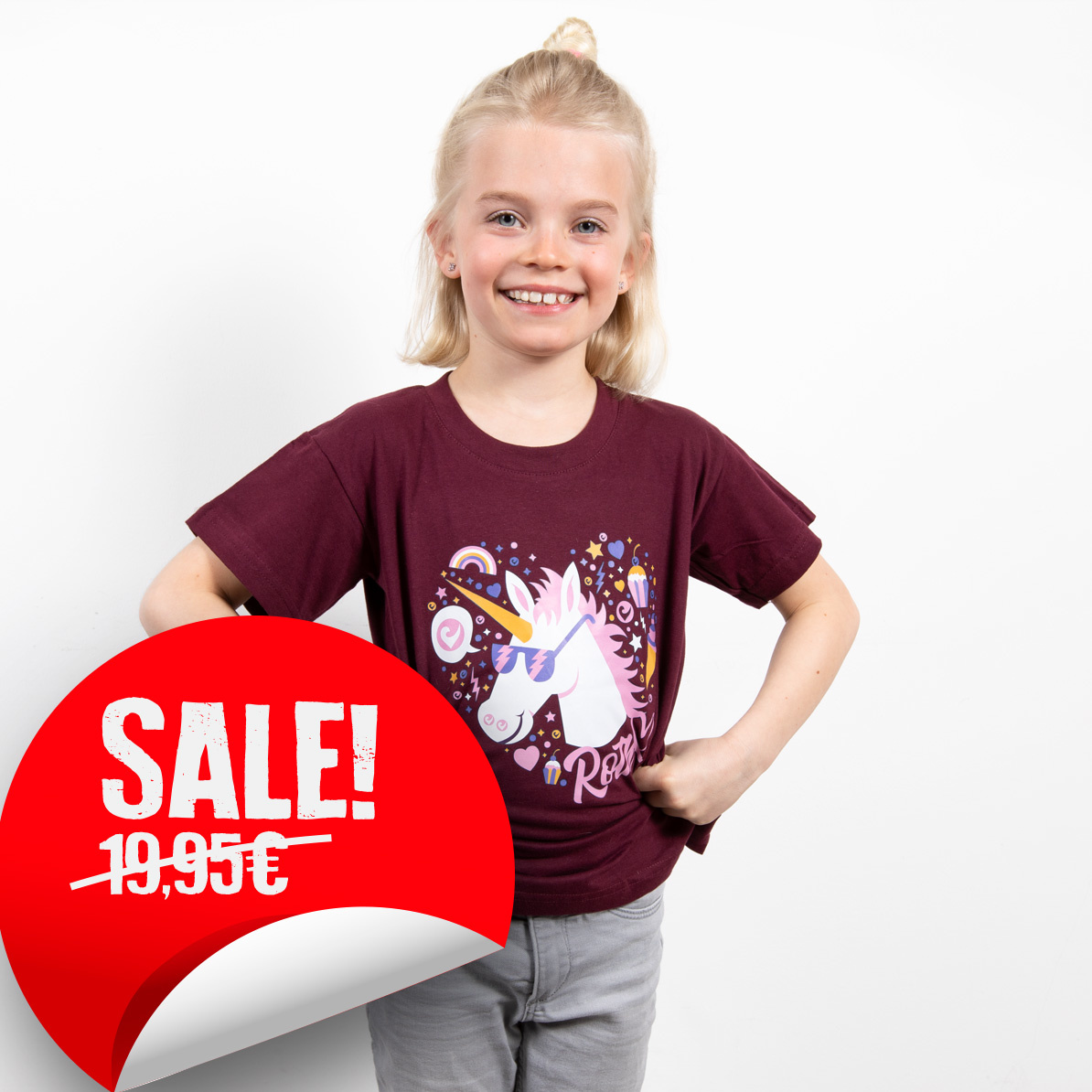 Challenge Kids-Shirt Einhorn - Bordeaux-1