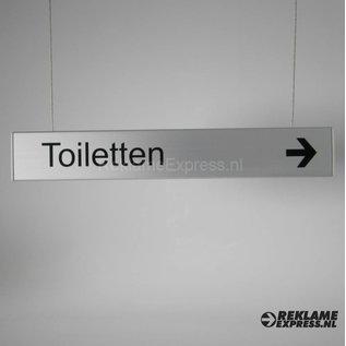 Hangbord Toiletten met richtingspijl Aluminium bordje