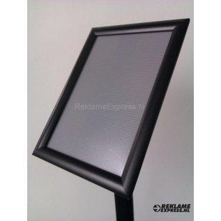 Zwarte standaard voor A3 print posterhouder op voet