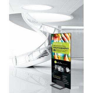 Displayvoet voor zelfstandig staan van reclamebord.