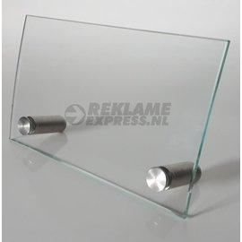 Glas naambord baliemodel RVS voetjes met naam of tekst.