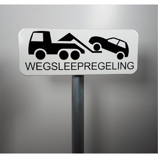 Huismerk Wegsleepregeling metaalbord wit met pictogram