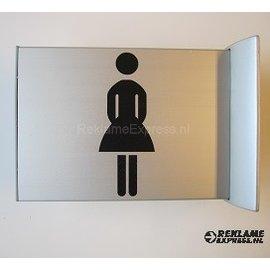 Toiletbordje Damestoilet haaks op de muur