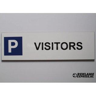 Parkeerbord Visitors wit 15x50 cm