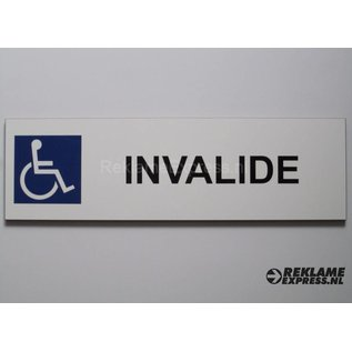 Parkeerbord Invalide wit 15x50 cm