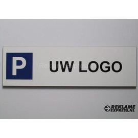 Parkeerbord met logo wit 15x50 cm