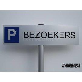 Parkeerbord Bezoekers compleet met paaltje