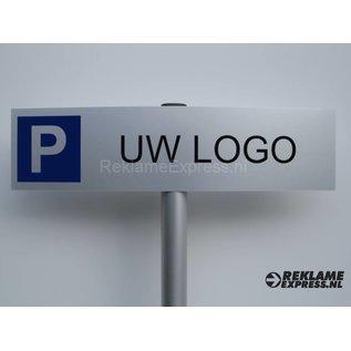 Parkeerbord met logo compleet met paaltje