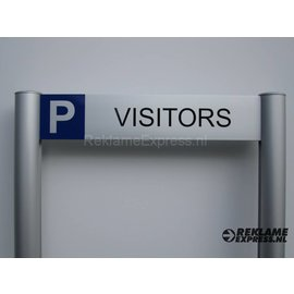 Parkeerbord Visitors frame paneel 10x50 cm en 2 palen