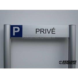 Parkeerbord Prive frame paneel 10x50 cm en 2 palen