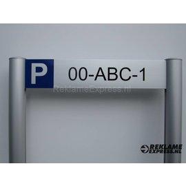 Parkeerbord Kenteken frame paneel 10x50 cm en 2 palen