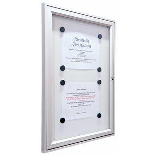 Informatievitrine, wandvitrine 75x75 cm. 29 mm. dik Tradition.