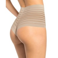 Lace Stripe High-Waisted Cheeky Hipster | Nude