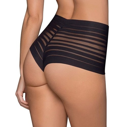 Lace Stripe High-Waisted Cheeky Hipster Leonisa | Black