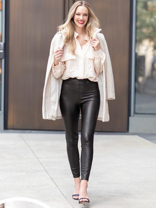 leather like straight pants
