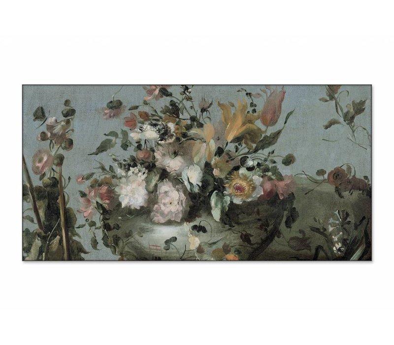 Bloemen • liggende afdruk op textiel